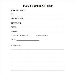 Fax Cover Sheet Blank
