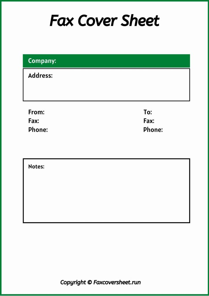 Free Standard Fax Cover Sheet
