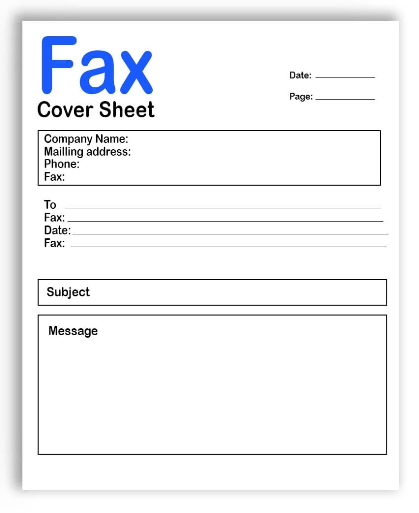 Fax Cover Sheet Printable Template